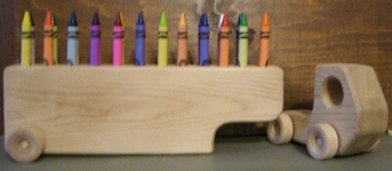 Toy, children, wood, truck, tractor and trailer, big rig, wooden, crayon holder. $12.00, via Etsy.