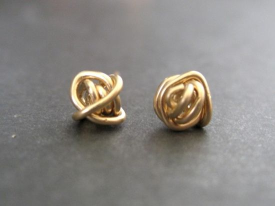 gold wire studs. like.