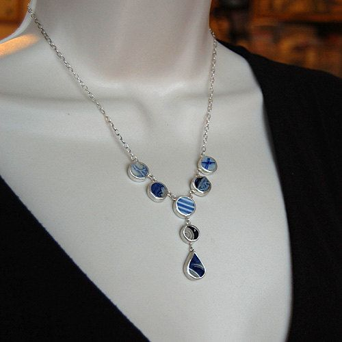 Pottery Shard Jewelry  Y Necklace with Textured by MoonflySilver, $90.00