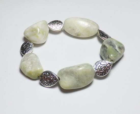 WhiteGreen Serpentine and PearShape Beaded Stretch by tzteja, $12.00  #bracelet, #beaded, #designsbytamiza, #handmade, #ooak, #green, #gemstone, #serpentine