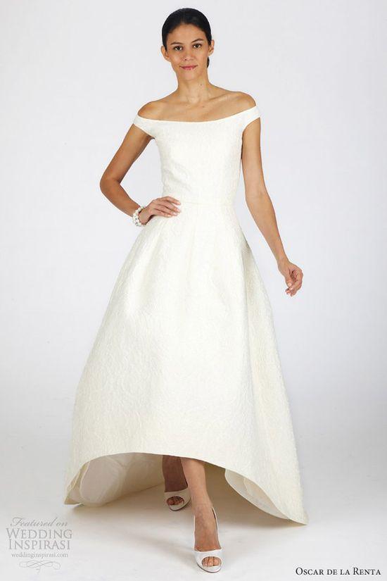 oscar de la renta fall 2013 bridal off shoulder high low wedding dress