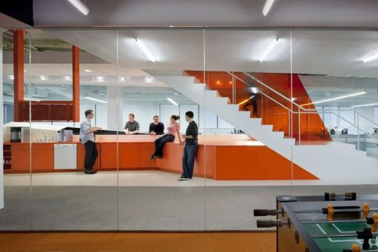 Great Modern Office Furniture with the Sophisticated Design: Orange Office Interior Design Cool Startup Tech Office ~ mybutteryfly.com Office Inspiration