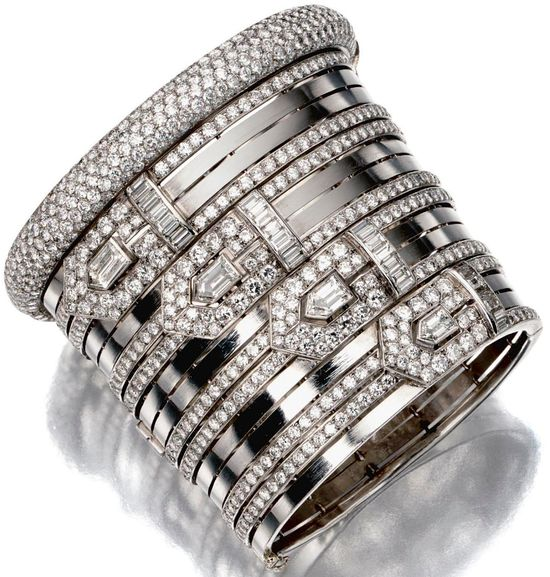 Diamonds in the Library: Seriously bad-ass Art Deco diamond bracelet.
