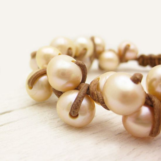 Autumn Inspired Pearl & Leather Knotted Bracelet     Peach Pearl Leather Bracelet / Natural Eco Friendly Leather $125.00
