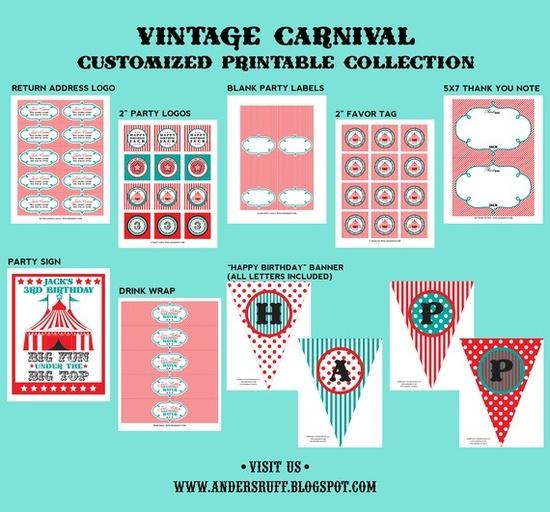 Vintage carnival theme printables