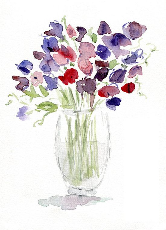 Sweet pea Bouquet original watercolor painting by TheJoyofColor, $42.00
