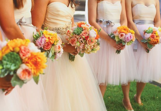Bride & Bridesmaid Bouquets // Photo: Christina Carroll Photography // Featured: The Knot Blog