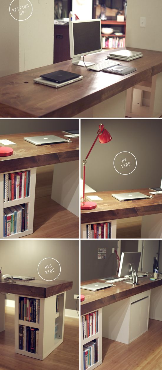 love this idea for office, or kitchen? wood-office-desk-DIY