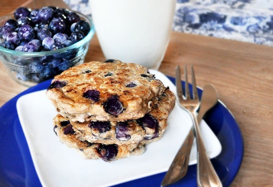 Blueberry Pie Pancakes *Blueberries *Flour of choice *Oats *Cinnamon *Baking powder *Vanilla *Sugar or stevia if desired *Milk of choice *Oil (optional)