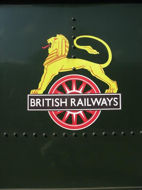"""British Railways """"Lion & Wheel"""" logo, on Pitchford Hall locomotive tender, August 2012"""
