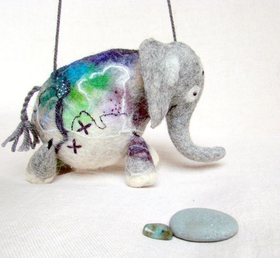 Anthonio  Felt Elephant Handmade Puppet Art by TwoSadDonkeys, $72.00