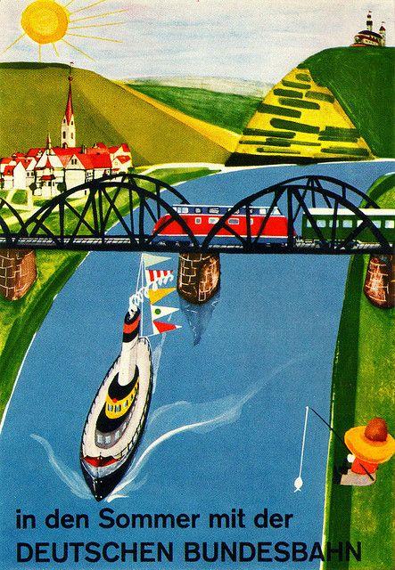Travel poster for German State Railways by us + Estenfelder 1961 (Source SandiV)