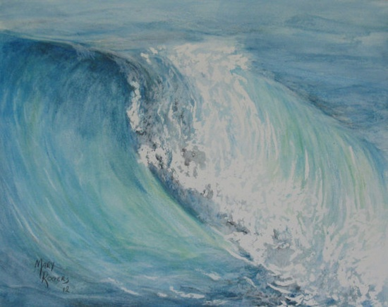 Original Watercolor Painting Blue Wave by sweetteadesigns on Etsy, $28.00