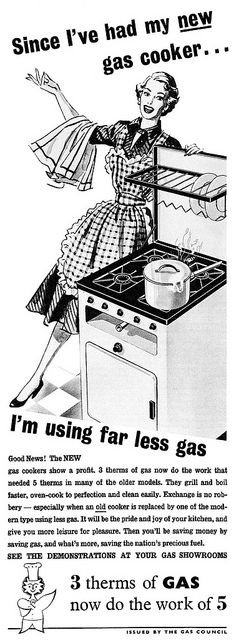 She's clearly very pleased about using less gas! #vintage #ad #1950s #stove #kitchen #homemaker #housewife