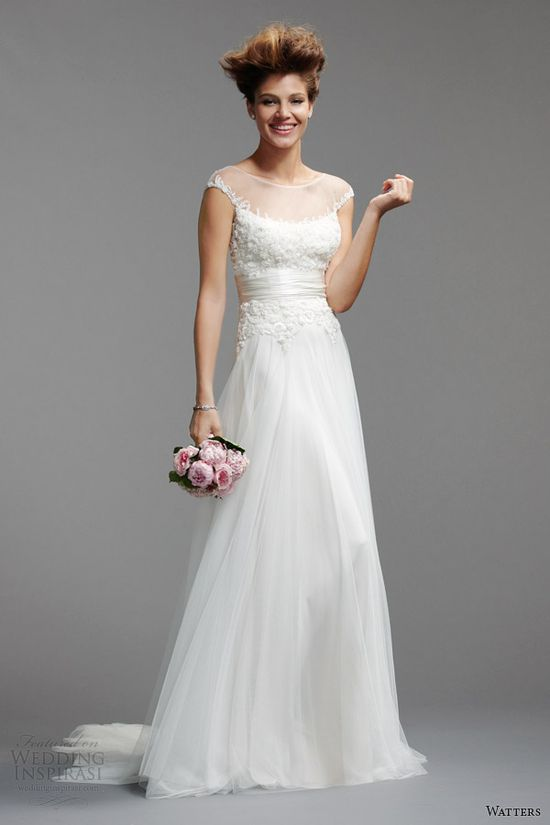 watters bridal spring 2014 cap sleeve wedding dress style 5086B