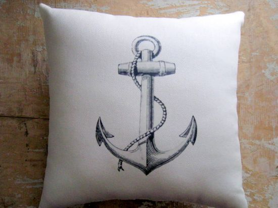 Nautical Pillow, Anchor, Beach Decor, Cottage Decor (@Emma Zangs Cawley FYI I'm going to tag you in every nautical thing I pin)