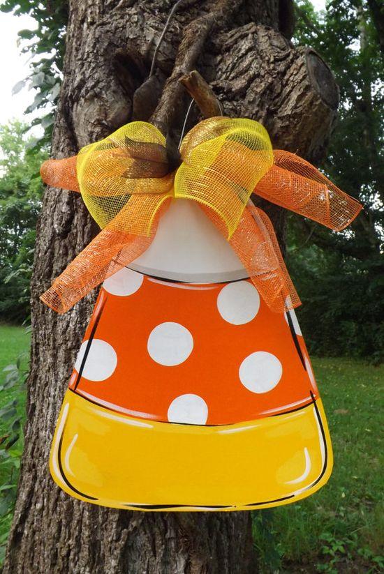 Candy Corn Door Hanger, Halloween Door hanger, Fall Door Hanger, Thanksgiving door hanger, Personalized Door Hanger, Door Decor via Etsy