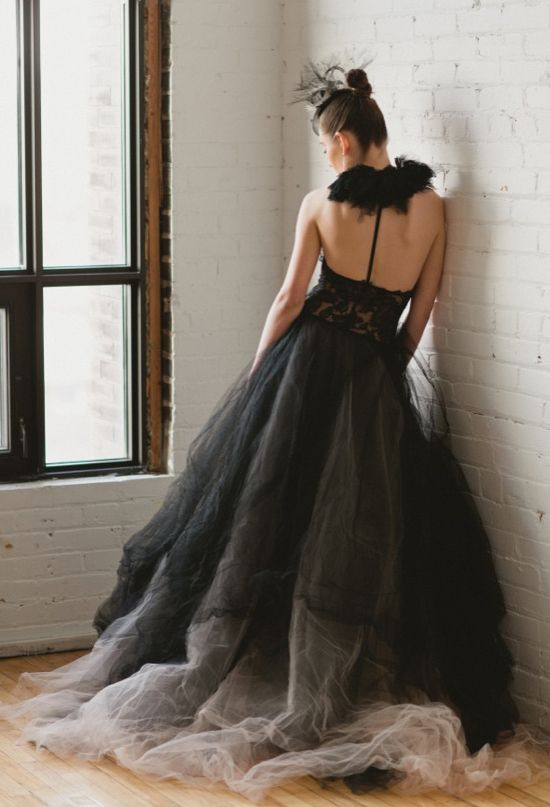 Inspiration:  I do adore Vera Wang's style.  Here is a black lace and chiffon halter dress with intricate bare back. Could be done with deep purple.