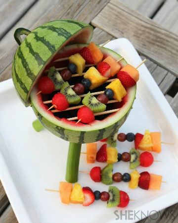 Watermelon Grill with Fruit Kabobs - cute centerpiece for a cookout!