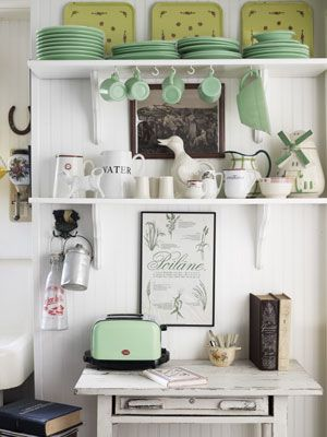 White shelves, jadite, open shelves. @countryliving