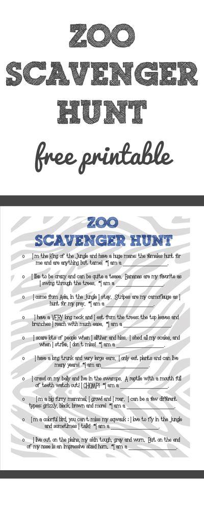 Free Scavenger Hunt Printable to take to the ZOO!