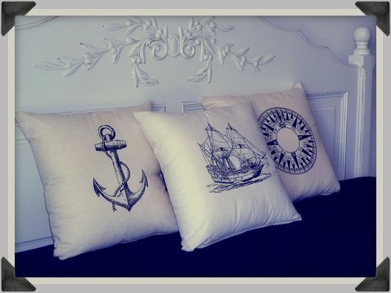 Screenprinted Anchor Cushion Nautical handmade tattoo alternative. $24.99,
