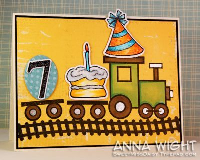handmade birthday card ... little train wearing a birthday hat and hauling a cake and a big number 7 ...