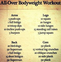 All-Over Bodyweight Workout #fitness #workout #exercise plan #home