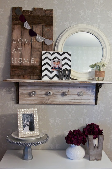 diy decor for entryway; love the shelf decor idea