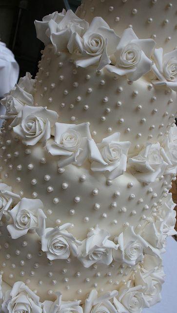 Close up of the five tier wedding cake by elizabethscakeemporium