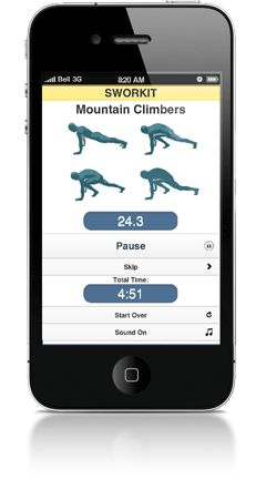 Sworkit ~What is Sworkit?  Sworkit works on a computer, iPhone or Android and functions kind of like an iPod shuffle for exercise. You choose your workout time (up to one hour) and goal (back, core strength, full body, etc.). Sworkit then generates a series of randomized 30-second routines (none of which require equipment) for you to follow, along with handy pictures of what each task actually looks like. At the end of every 30 seconds, a whistle blows and you're on to the next exercise.