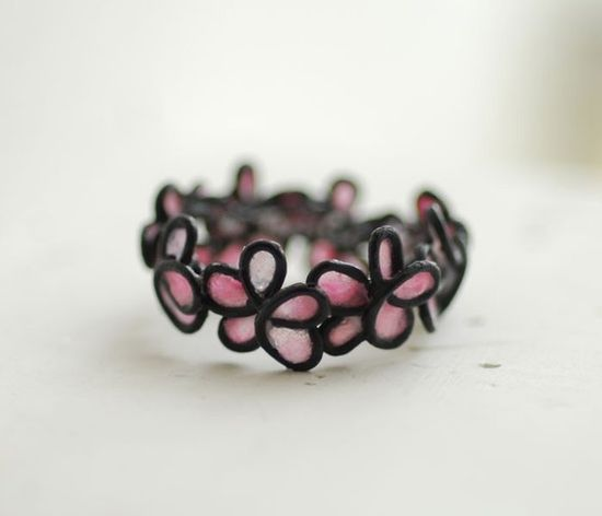 Artisan Pink Forget Me Not Ring Petite Flowers by TaylorsEclectic, $45.00