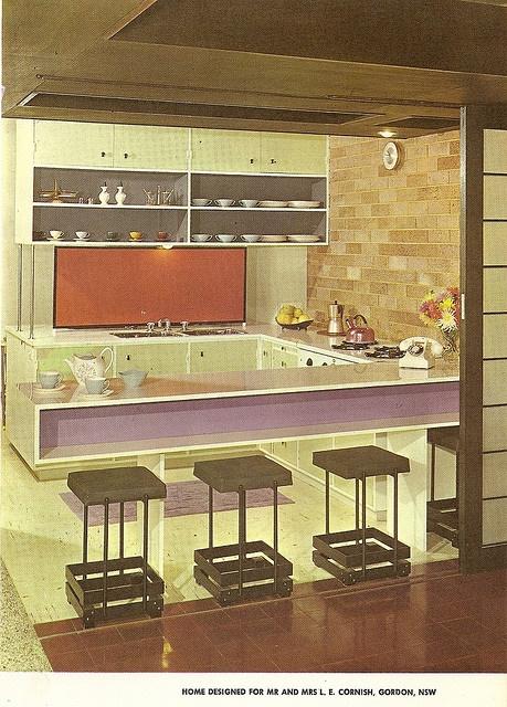 "Purple and Orange Kitchen  Mr and Mrs L.E. Cornish house, Gordon N.S.W. ""Australian Book of Furnishing and Decorating"" 1965"