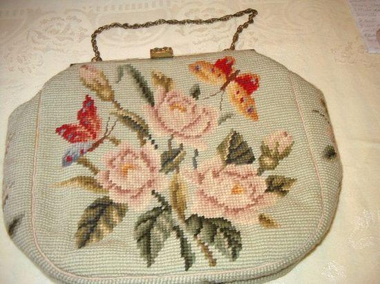 Vintage Ladies Needlepoint Handbag Purse with Roses by TashsAttic