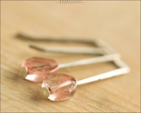 Sterling Silver Pink Watermelon Quartz Earrings - Jewelry by Jason Stroud.