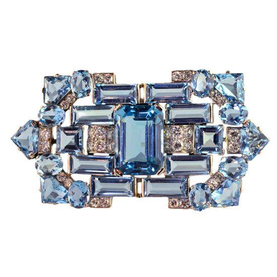 CARTIER LONDON Art Deco Aquamarine Diamond Brooch