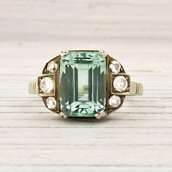 Vintage Emerald / Diamond Engagement Ring