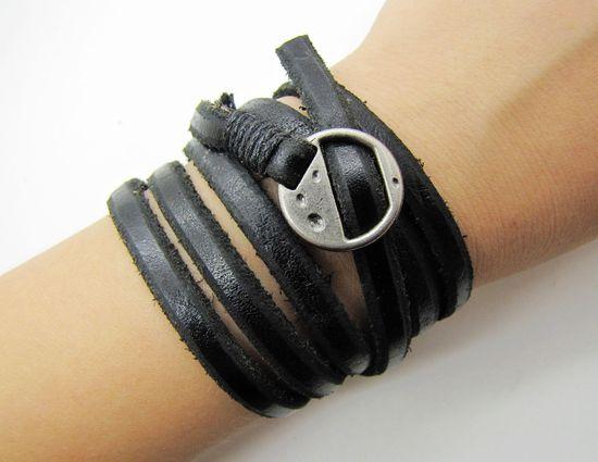 Black Soft Leather Women Leather Bracelet  with by braceletcool