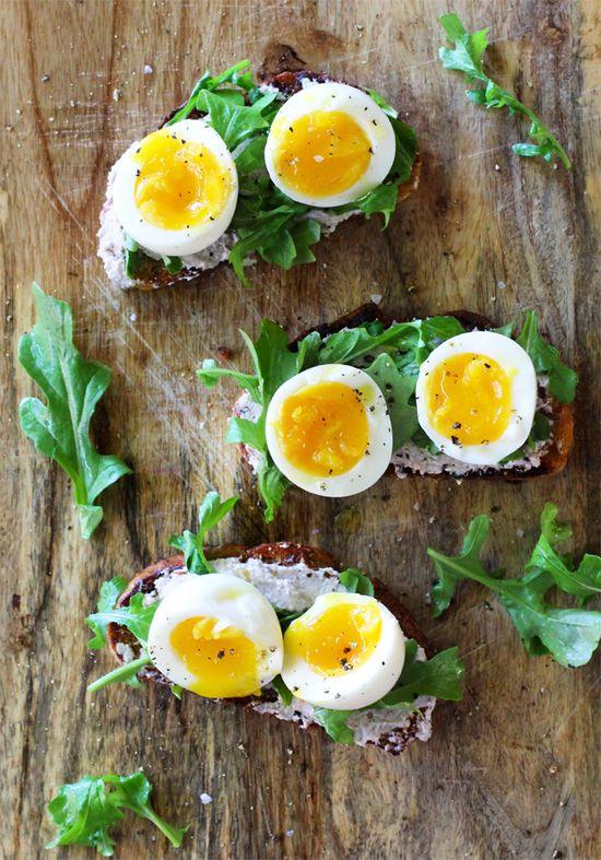 Walnut Ricotta Crostini with Arugula and Soft-Boiled Eggs by kitchenkonfidence: Thanks to @S A M U E L ? M A C H E L L ! #Crostini #Eggs #Walnuts