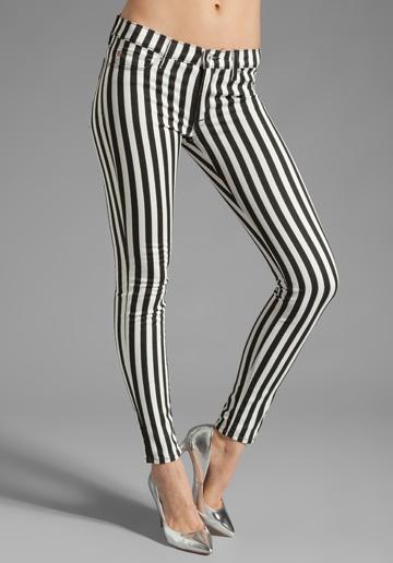 spodnie w czarno-białe pasy