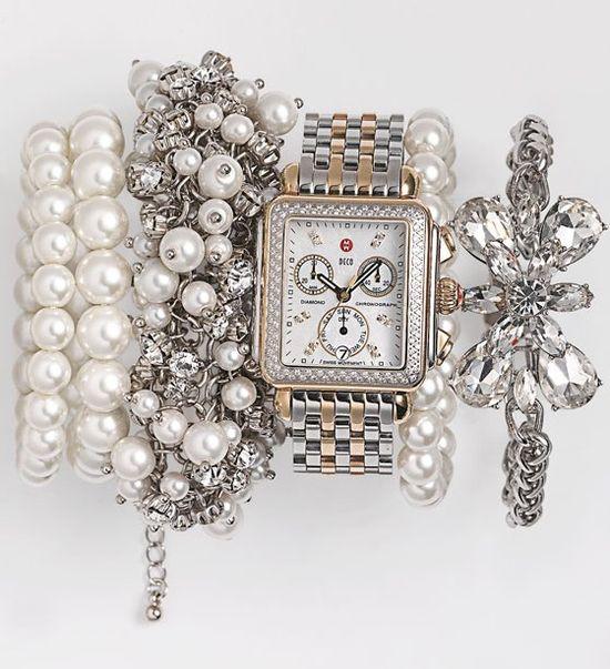 MICHELE 'Deco Diamond' Diamond Dial Two Tone Watch Case .??