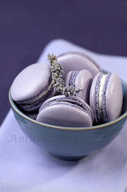 Gorgeously hued, sweetly fragrant Lavender Macarons. #purple #food #dessert #lavender #macarons #cookies #French #baking #pastry