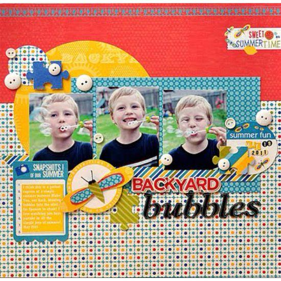 Bubbles scrapbook layout