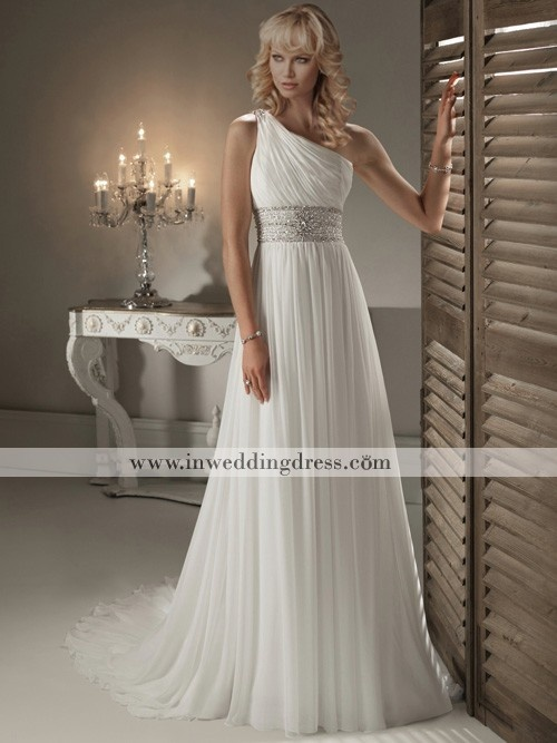 One-Shoulder Chiffon Beaded Waist Gown BC635