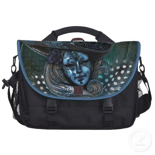 Carnival Mask-Blue Damask Laptop Bag
