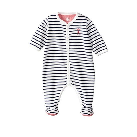Baby Boy Cotton Crawler With Sailor Stripes