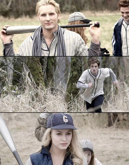 Twilight. The baseball game