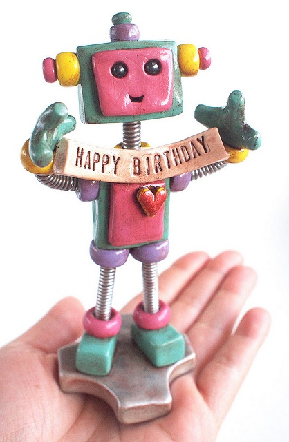Teal Tam Robot Birthday Cake Topper by HerArtSheLoves, via Flickr.