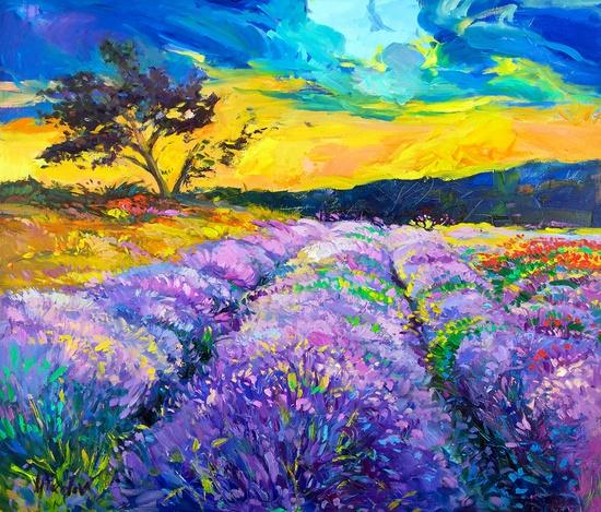 Purple scene 24x27 inch original oil painting by Nikolov. $449.00, via Etsy.