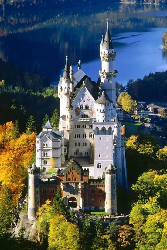 Neuschwanstein Castle builds in 1869.This is located in, on a rugged hill southwest Bavaria, Germany.1.3 million people visit this castle in summer season..